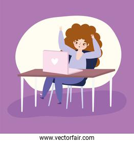 working remotely, young woman with laptop work in desk