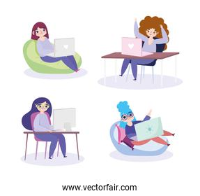 working remotely, women sitting with laptop and computer work