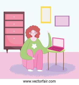 working remotely, young woman with laptop in table room furniture