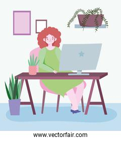 working remotely, young woman in desk with laptop room with plants decoration