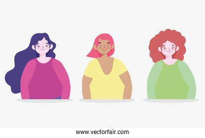 young women group character avatar female design isolated