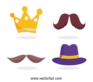 happy fathers day, gold crown moustache hat icons set
