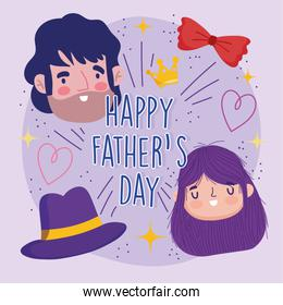happy fathers day, greeting card dad daughter hat and bow tie celebration
