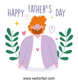 happy fathers day, greeting card dad with love hearts floral decoration
