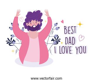 happy fathers day, cheerful bearded dad decoration greeting card