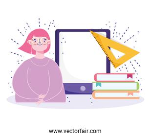 online education, student with glasses mobile stack books and ruler triangle
