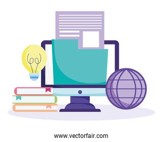 online education, computer with world and school icons