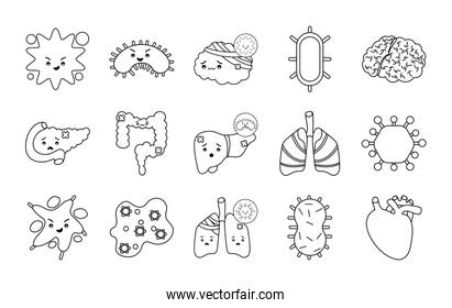 Human organs and virus line style icon set vector design