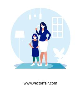 Mother and daughter with mask at home vector design