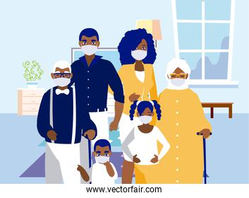 Family with masks at home vector design