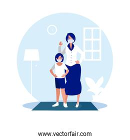 Mother and daughter with masks at home vector design