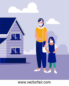 Mother and daughter with masks outside house vector design