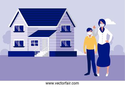 Mother and son with masks outside house vector design