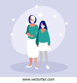 Mother and daughter with masks vector design