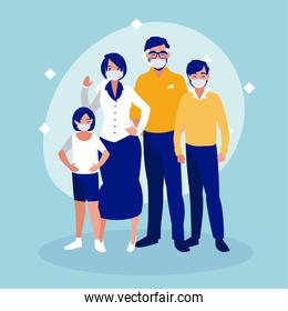 Family with masks vector design