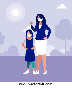 Mother and daughter with masks at park vector design