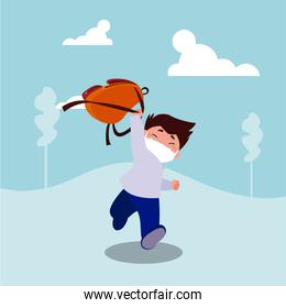 Boy kid cartoon with mask and school bag at park vector design