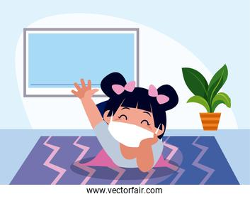 Girl kid cartoon with mask at home with tv vector design