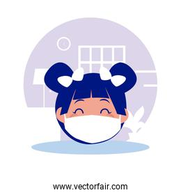 Girl kid cartoon head with mask at home vector design