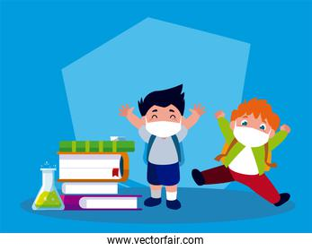 Girls with masks school books and bags vector design