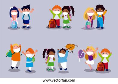 Set of girls and boys kids cartoons with masks and school bags vector design