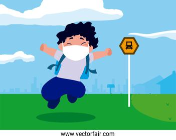 Boy kid cartoon with mask and school bag at bus station vector design