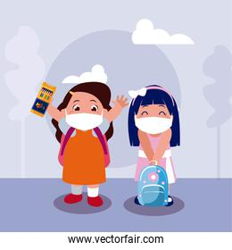 Girls kids cartoons with masks school bags and colors at park vector design