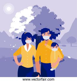 Family with masks in front of landscape vector design