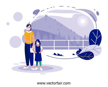 Mother and daughter with mask in front of landscape vector design