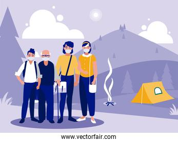 Family with masks in front of landscape with camping tent vector design