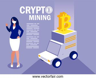 Woman with mask truck and bitcoin vector design