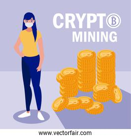 Woman with mask and bitcoins vector design