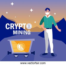 Man with mask and bitcoins inside cart vector design