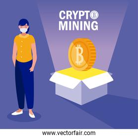 Woman with mask box and bitcoin vector design