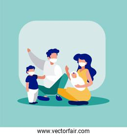 Family with masks in front of frame vector design