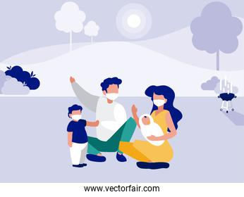 Family with masks at park with trees vector design