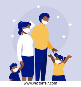 Family with masks in front of circle vector design