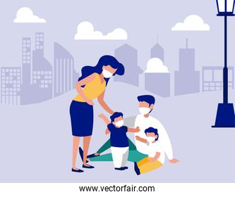 Family with masks at park in front of city vector design