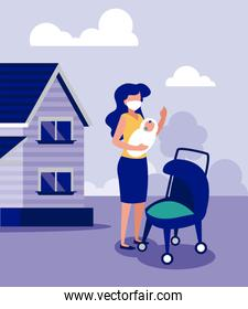 Mother and baby with mask outside house vector design