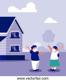 Kids with masks outside house vector design