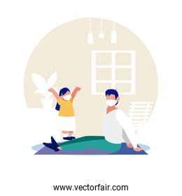 Father and daughter with masks at home vector design