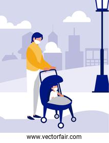 Father and baby with masks at park vector design