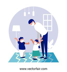 Father daughter and son with masks at home vector design