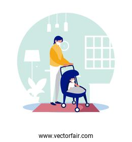 Father and baby with masks at home vector design