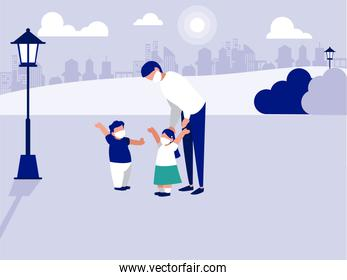 Father daughter and son with masks at park vector design