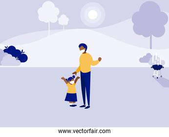 Father and daughter with masks at park vector design