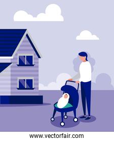 Father and baby with masks outside house vector design