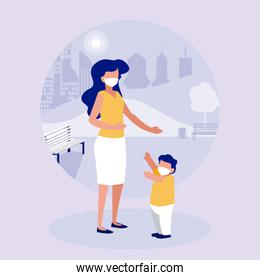 Mother and son with masks at park vector design