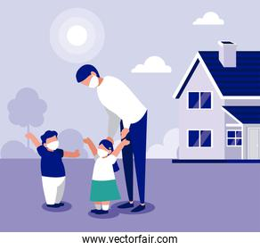 Father daughter and son with masks outside house vector design