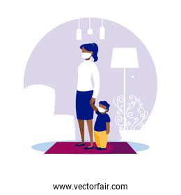 Mother and son with masks at home vector design